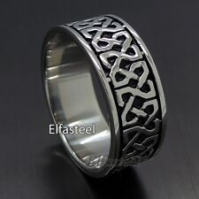 Unisex Celtic Knot Infinite 316L Stainless Steel Solid Wedding Band Ring