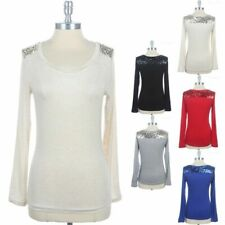 Long Sleeve Scoop Neck Solid Top Shoulder & Back Sequins Yoke Casual Rayon S M L