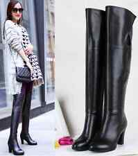 Women's Cow Leather Boots Cuban Mid Heel Round Toe Velcro Over The Knee Boot