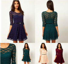 HOT SPRING SUMMER SEXY LADY ROUND NECK LACE SLIM COCKTAIL PARTY WOMEN MINI DRESS