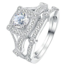 1.5CT Round White AAA CZ 925 Sterling Silver Wedding Engagement Ring Set Sz 5-10