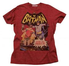Adult Red DC Comics Junk Food Old Show Batman & Robin Here To Party T-Shirt Tee