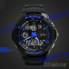 Mens Delicate Cool S-Shock Sports Watch LED Analog Digital Water Resistant Alarm