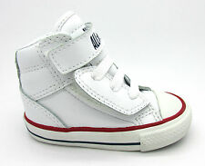INFANTS CONVERSE CT LOOPBACK Velcro White Leather Trainers 735552C