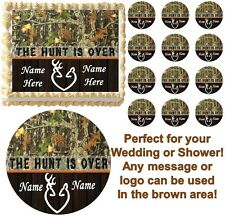 THE HUNT IS OVER Mossy Oak Camo Buck Doe Wedding or Shower Edible Cake Topper!