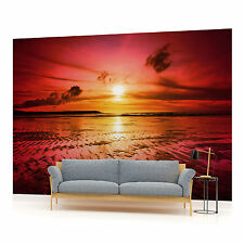 Sunset on the Beach in Red  PHOTO WALLPAPER WALL MURAL ROOM DECOR (263P)