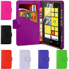 PU Plain Leather Magnetic Book Flip Wallet Phone Case Cover For Nokia Lumia 520