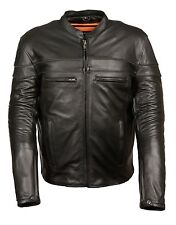 Men's Sporty Vented Leather Motorcycle Jacket w/ Reflective & Dual Gun Pockets