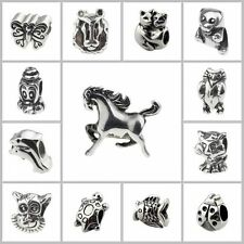 Stainless steel big hole European Charm animals Bead Findings for 3mm bracelets