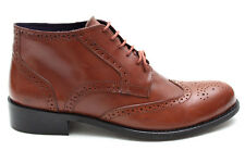 Gucinari Mens Tan Leather Office Smart Brogue Ankle Boots Size UK 6 7 8 9 10 11