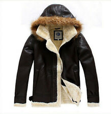 Mens Winter Fur Lining Warm Hooded Sheepskin Leather Jacket Trench Coat Overcoat