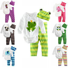3pcs Kids Baby Boys Girls Newborn Bodysuit+Pants+Hat Cotton Clothes Sets FT1136