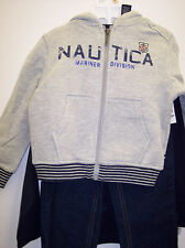 Boys Nautica Grey & Navy Zip Up Hoodie 3 Piece Set sizes 2T to 7