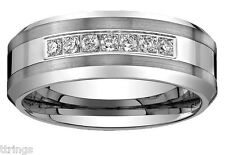 Men's Tungsten Carbide Diamond wedding band Ring 8mm wide 0.25 Ct sizes 8 to 16