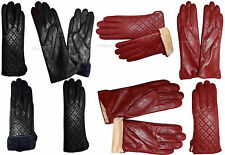New Women's dressy Leather Gloves, Quilted Black/Red Leather Winter Gloves nwt