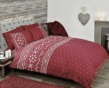 Red Nordic Duvet Set Single Double King
