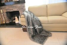 "60"" 72"" 84"" Gray Coyote Plush Thick Warmth Fur Throw Sofa Blankets Lodge Cabin"