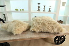 Sheepskin Wool Cushion Genuine Fur Pillow Champagne
