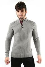 Mens High Neck Button UP Casual Ribbed Knitted Jumper Grey SIZE S-XXL