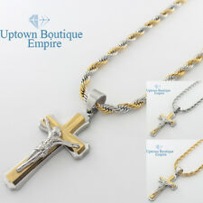"""24"""" men stainless steel Gold Silver 2 tone cross pendant rope necklace chain 23"""