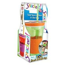 Snackeez As Seen On TV Travel Cup Snack Drink In One Container Lid Straw