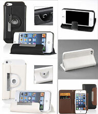 Apple iPhone 5 5S PU Leather Stand 360 Rotating Flip Case Cover Protector Wallet