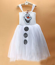 Children Dressing Snowman Olaf Cosplay Birthday Gift Dress For 2-6 Year Girl