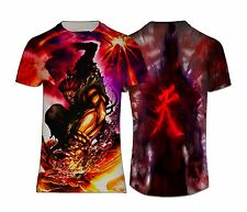 NEW JAPAN AKUMA MEN'S T-SHIRT STREET FIGHTER T-SHIRT COTTON BLEND ANIME