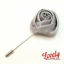 Men's Flower Lapel Pin SILVER SATIN ROSE Lovely Handmade Floral Silk Boutonniere