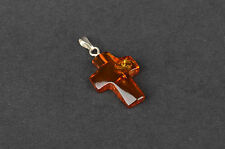 Natural Baltic Amber Pendant Cross in any Color You Choose
