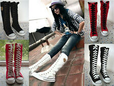 Women  Punk EMO Rock Gothic zip Lace up Canvas boot shoe sneaker knee high Hot
