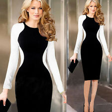Lady Womens Long Sleeve Slim Bodycon Dress Cocktail Party Evening Pencil Dress