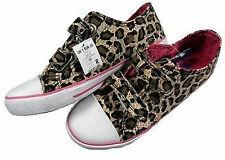 Ex M & Co Girls Leopard Print White Velcro Pumps Trainers Shoes 12 - 5 Brand New