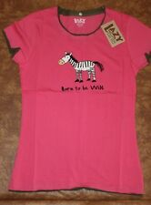 Lazy One Junior Fitted Tee Sleep Shirt Pink Gray Zebra Born To Be Wild