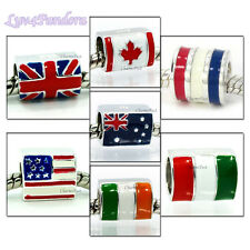925 Solid Sterling Silver Country Flag Series fits European Beads Charm Bracelet