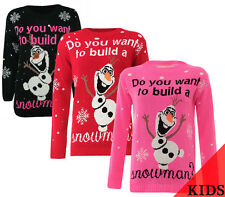 New Unisex Kids Do You Want To Build A Snowman Olaf Christmas Xmas Jumpers Tops