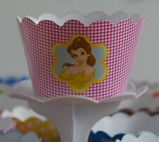 "12 GIRLS Party ""DISNEY PRINCESS BELLE"" Cupcake Wrappers-WORLDWIDE FREE SHIPPING"