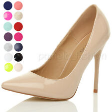 WOMENS LADIES POINTED CONTRAST HIGH HEEL SMART PARTY COURT WORK PUMPS SHOES SIZE