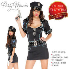 SEXY POLICE WOMAN OFFICER NAUGHTY COP UNIFORM WOMENS FANCY DRESS COSTUME