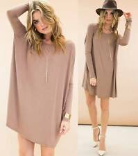 Taupe Long Sleeve Scoop Neck Piko Bamboo Oversized Tunic Tee Shirt Dress NWT