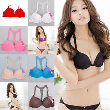 New Fashion Womens Sexy Front Closure Racer Back Racerback Push Up Bra 32-36B