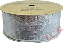 38mm x 10m OR 15mm x 20m WOVEN METALLIC GOLD & SILVER RIBBON CAKE DECORATING