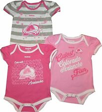 Colorado Avalanche GIRLS Pink 3pc Creeper Set Infant Baby Stripes