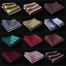 SC Stripe Men Silk Satin Pocket Square Hanky Wedding Party Handkerchief