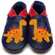 Inch Blue Boys Baby Luxury Leather Soft Sole Pram Shoes - Dino Navy