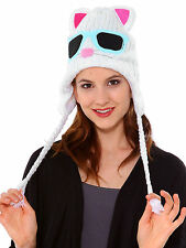 Missy Cat Character Hat - Fleece Lined Animal Knit Beanie Cap
