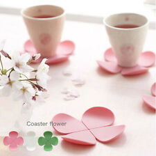 4Pcs Lovely 3D Flower Coaster Food Grade Silicone Placemat Rubber Mat Pad Decor