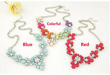Hot Fashion Party Bright Resin Rhinestone Flower Statement Collar Bib Necklace