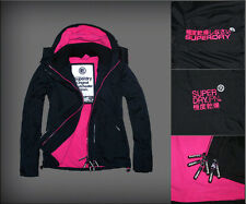 Superdry Womens Arctic Fleece Lined Windcheater Jacket  black/pink logo