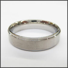 "Personalized Stainless Steel Stamped High Polished Edge Ring 6mm, ""Handmade"""